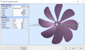3D import of propeller laser scan with PropCad.