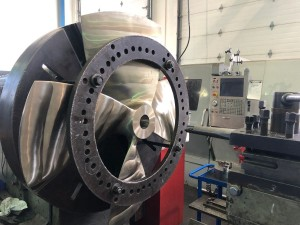 A new 55in Kaplan propeller being machined